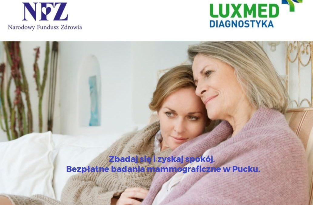 Bezpłatne badania mammograficzne w Pucku